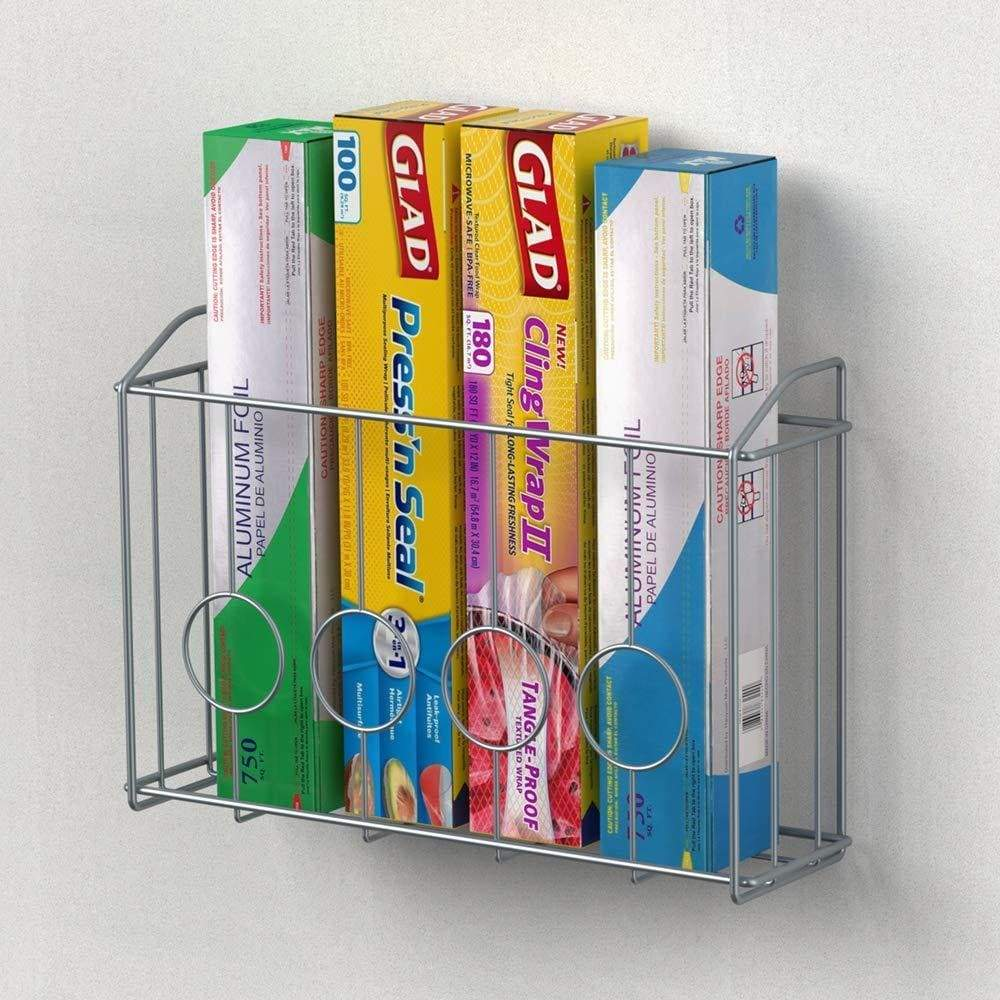 Featured nex over the cabinet door organizer cabinet storage basket for cutting board aluminum foil cleaning supplies silver