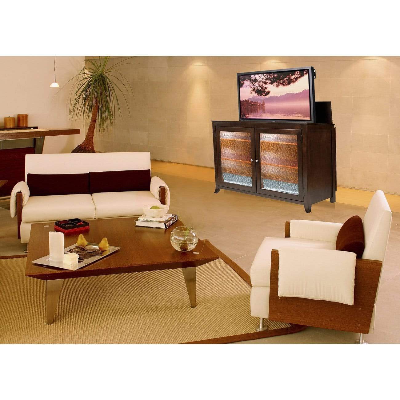 Order now touchstone 70065 carmel tv lift cabinet espresso up to 60 inch tvs diagonal 55 in wide contemporary style motorized tv cabinet pop up tv cabinet with memory feature ir rf 12v trigger
