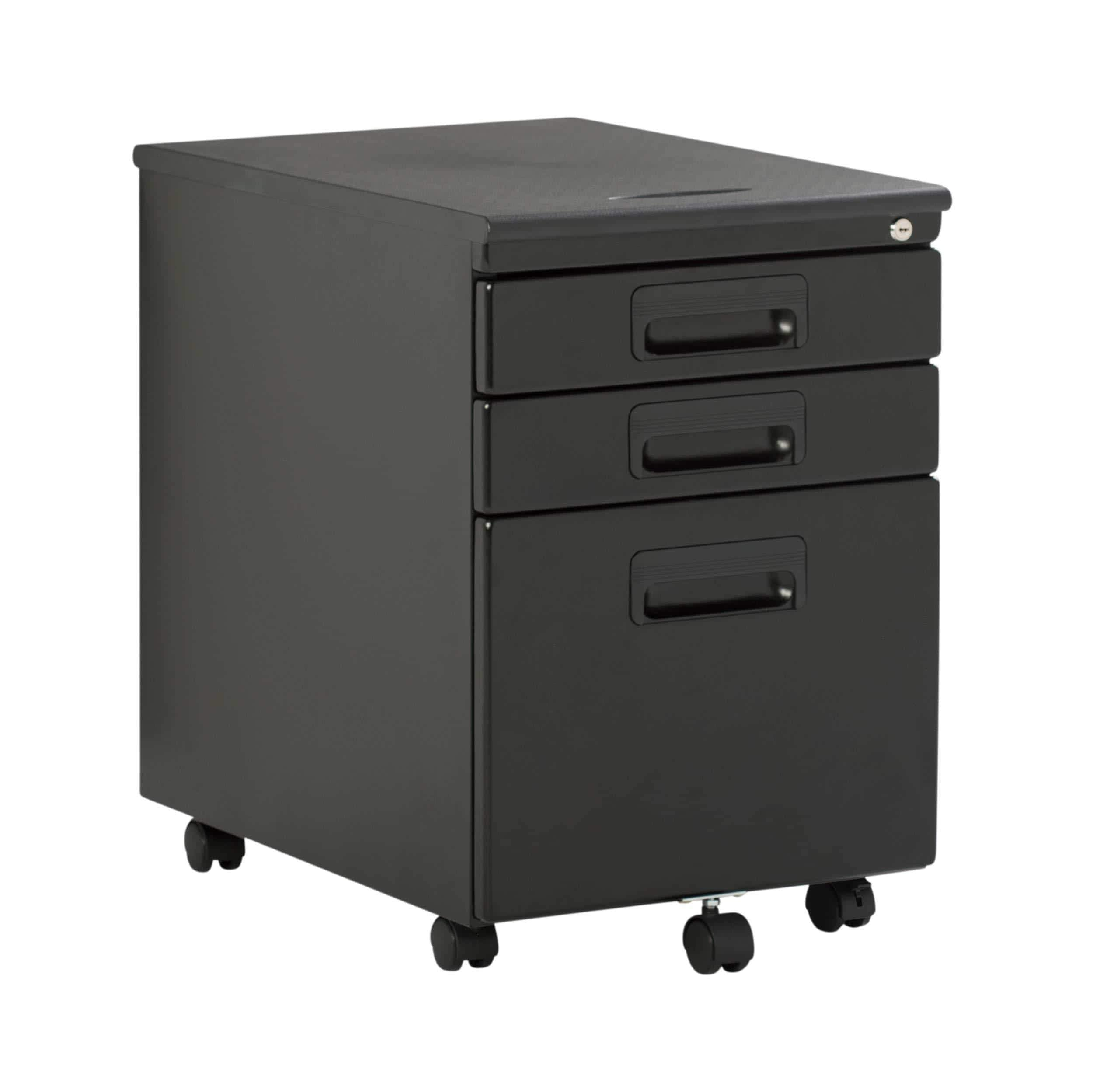 Exclusive craft hobby essentials 62002 metal 3 vertical mobile filing cabinet 15 75 w x 22 d craft supply storage with locking drawers in black