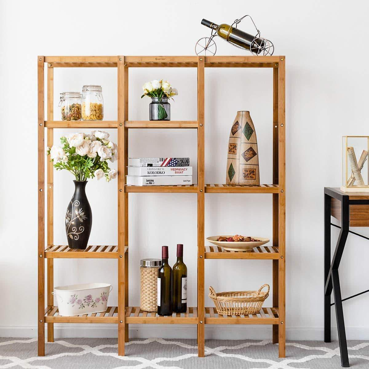 Best seller  costway multifunctional bamboo shelf bathroom rack storage organizer rack plant display stand w several cell closet storage cabinet 5 tier