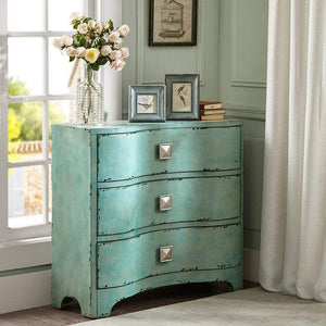 Top madison park fulton accent chest wood living room 3 drawer storage unit cracked antique blue teal antique rustic style floor cabinet