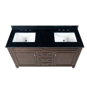 Online shopping maykke abigail 60 bathroom vanity set in birch wood american walnut finish double brown cabinet with countertop backsplash in black granite and ceramic undermount sink in white ysa1376001