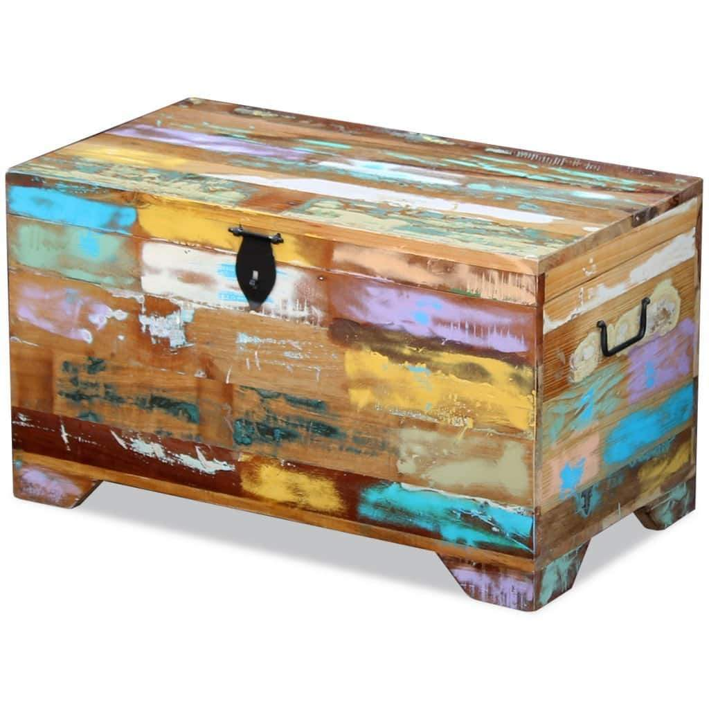 Top fesnight reclaimed wood storage chest lockable wooden storage box trunk cabinet with handles for bedroom closet home organizer collection furniture decor 28 7 x 15 4 x 16 1l x w x h