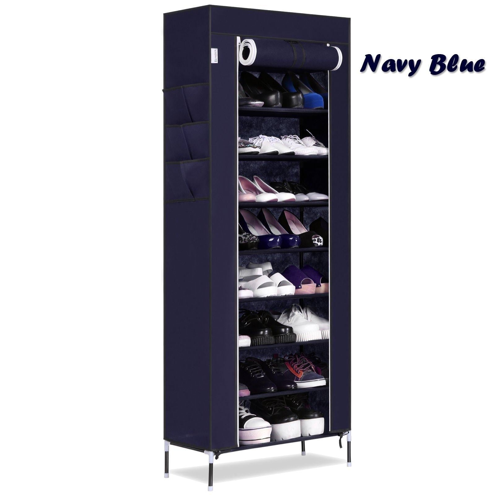 Online shopping bluefringe shoe rack with dustproof cover shoe closet shoe cabinet storage organizer dustproof 27 pairs shoe cabinet multi function shelf organizer navy blue 10 tier