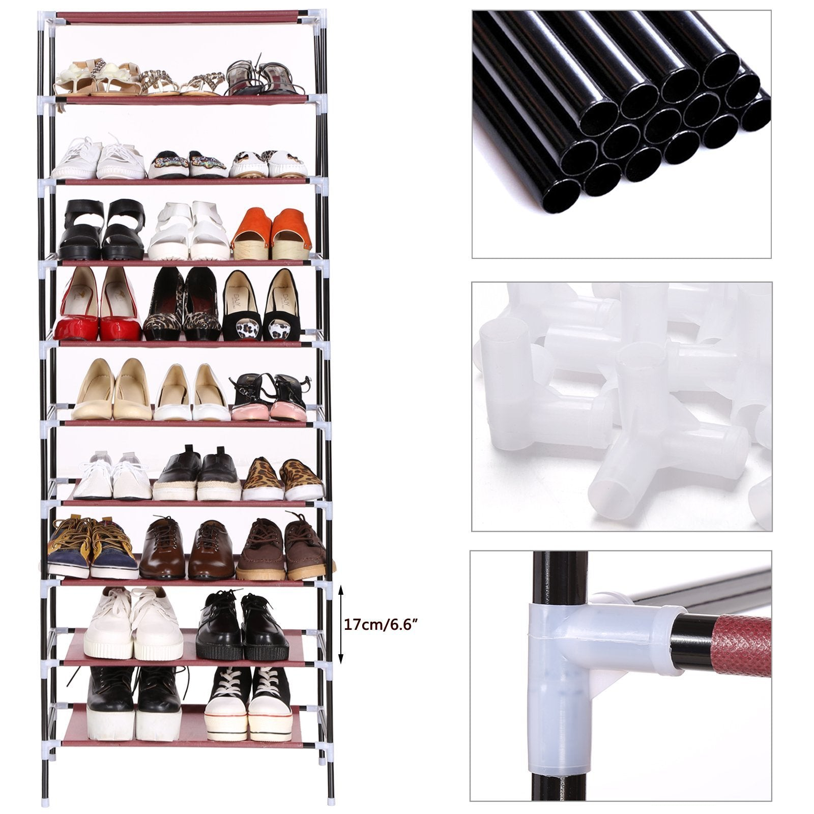 On amazon bluefringe shoe rack with dustproof cover shoe closet shoe cabinet storage organizer dustproof 27 pairs shoe cabinet multi function shelf organizer navy blue 10 tier
