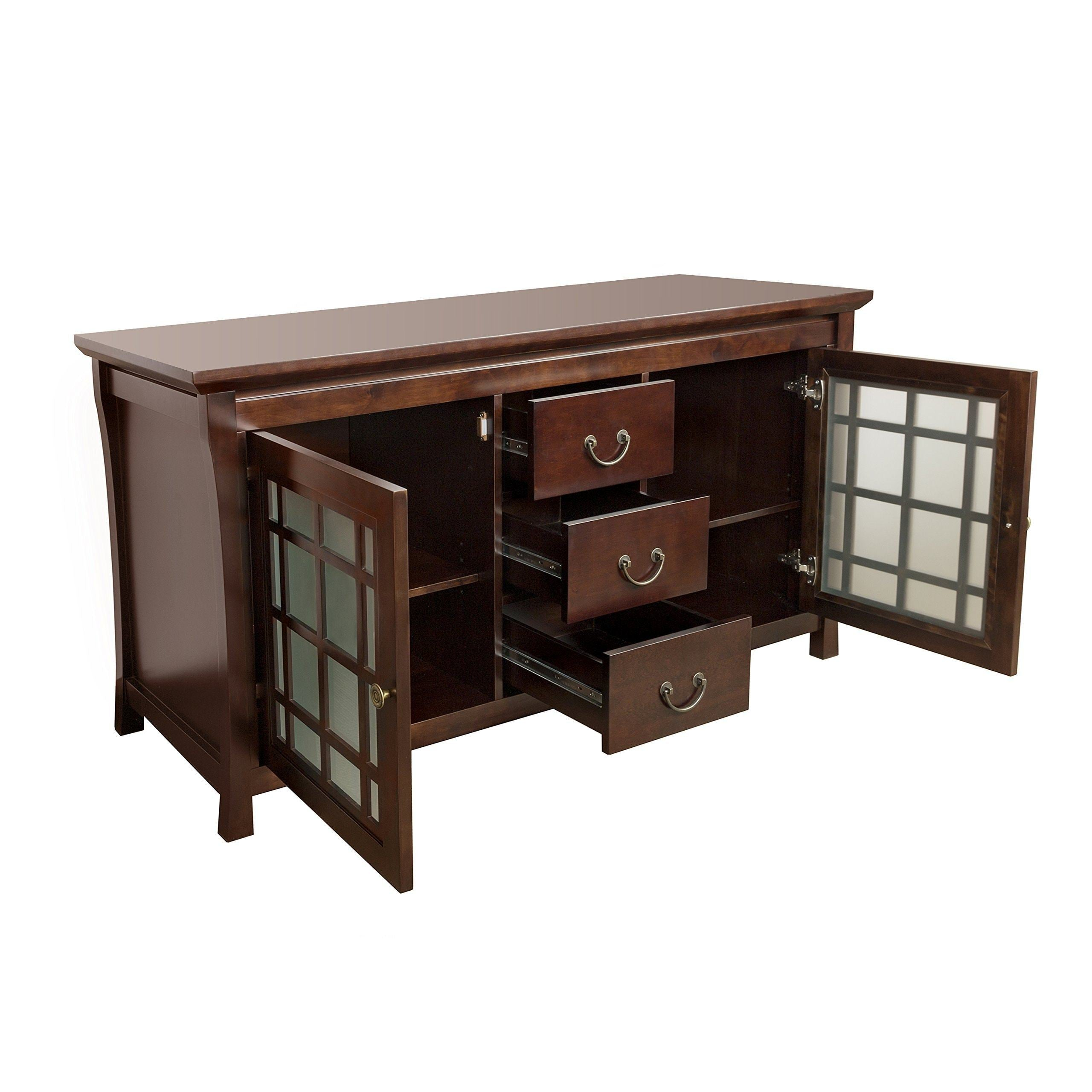 Top ronbow shoji 60 inch living room bathroom furniture in vintage walnut wood cabinet with three drawers wood countertop 040460 d f07_kit_1