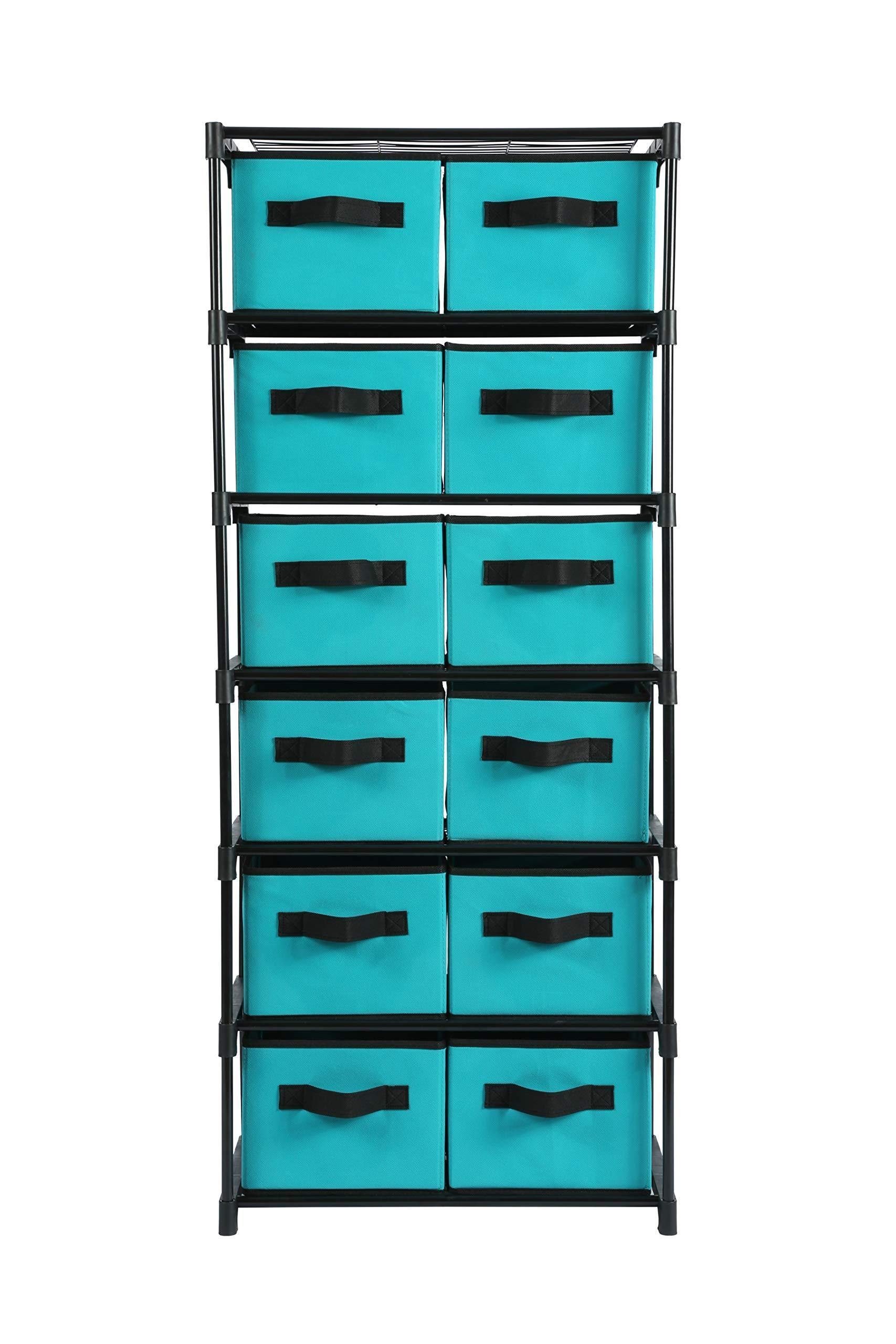 Results homebi storage chest shelf unit 12 drawer storage cabinet with 6 tier metal wire shelf and 12 removable non woven fabric bins in turquoise 20 67w x 12d x49 21h