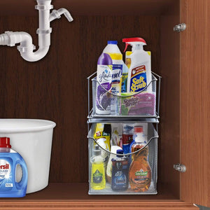 Select nice sorbus cabinet organizer set mesh storage organizer with pull out drawers ideal for countertop cabinet pantry under the sink desktop and more silver two piece set