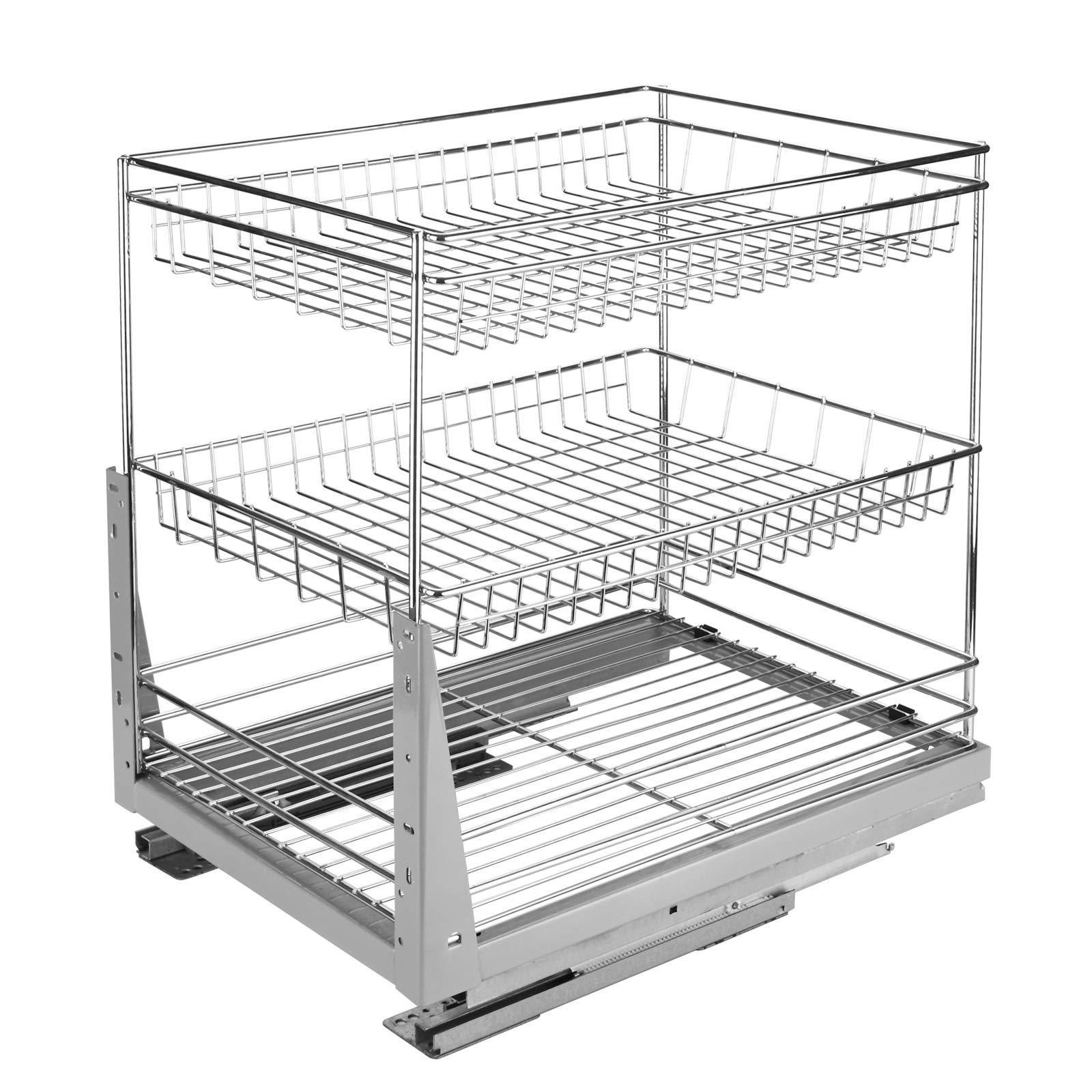Products 17 6 in length cabinet pull out chrome wire basket organizer 3 tier cabinet spice rack shelves bowl pan pots holder full pullout set