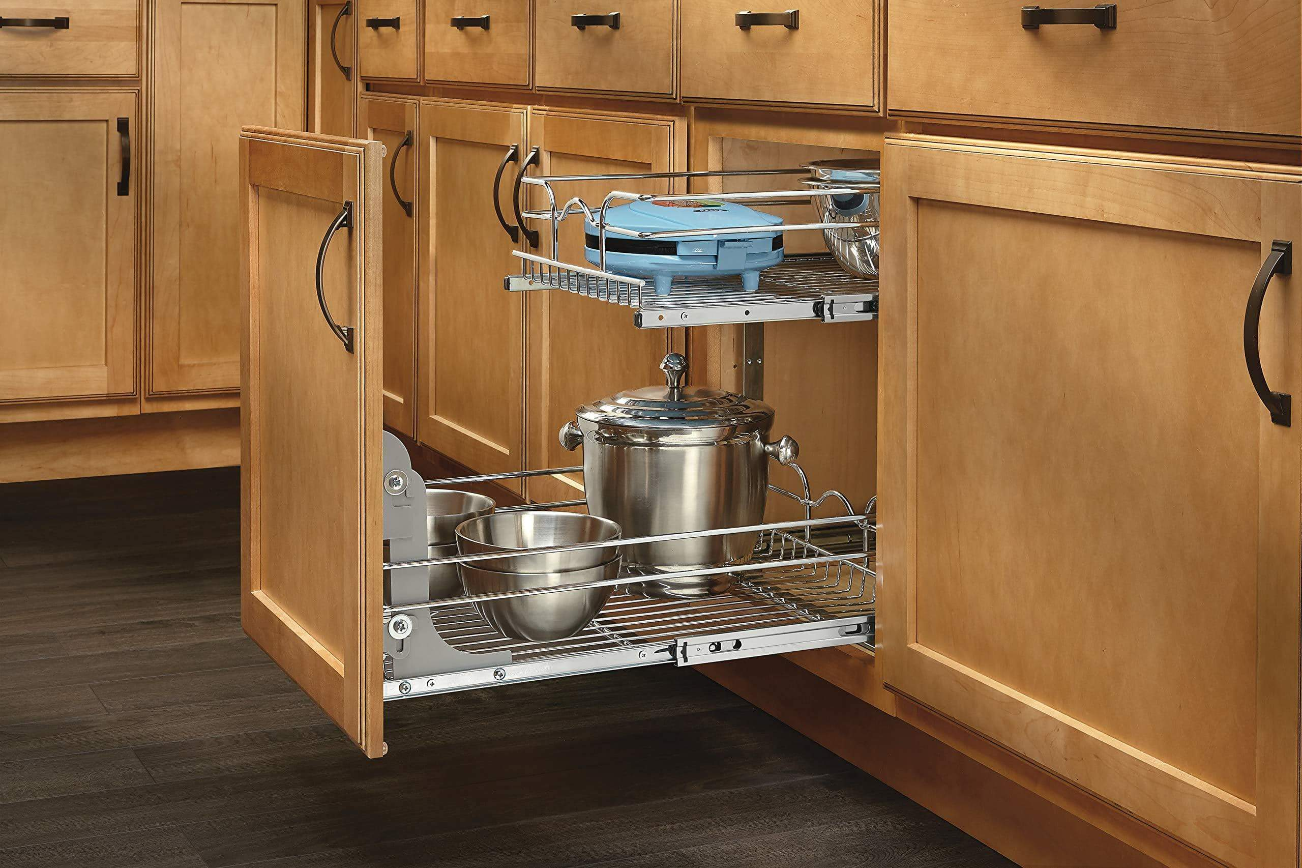 Explore rev a shelf 5wb2 0918 cr base cabinet pullout 2 tier wire basket reduced depth sink base accessories 9 w x 18 d inches