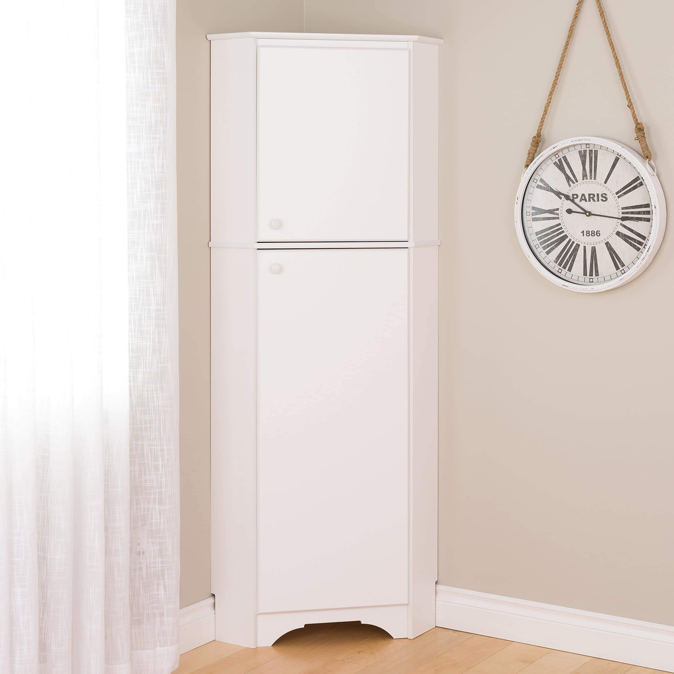 Best prepac wscc 0605 1 elite home corner storage cabinet tall 2 door white