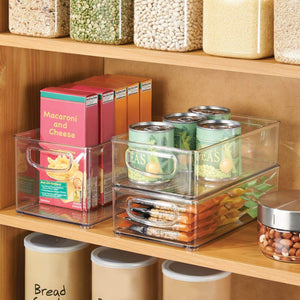 Cheap idesign plastic storage bin with handles for kitchen fridge freezer pantry and cabinet organization bpa free set clear