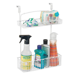 The best mdesign metal farmhouse over cabinet kitchen storage organizer holder or basket hang over cabinet doors in kitchen pantry holds dish soap window cleaner sponges 2 pack matte white