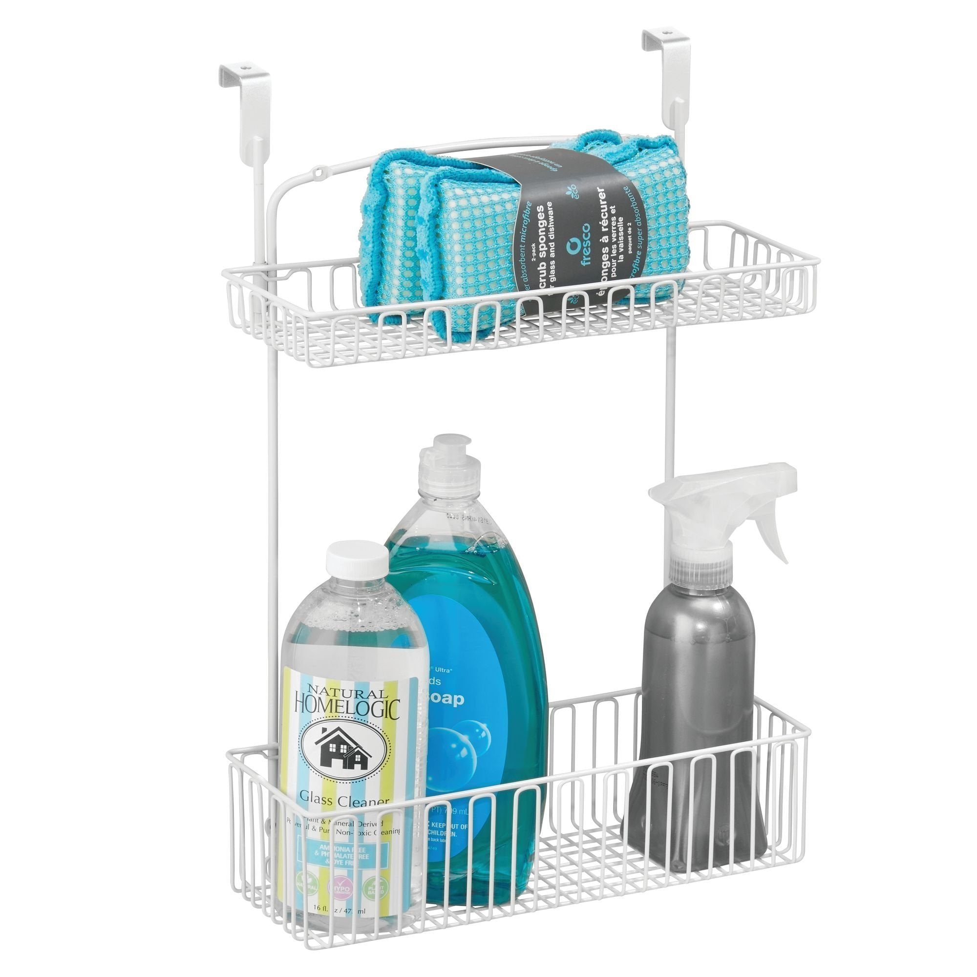 Top mdesign metal farmhouse over cabinet kitchen storage organizer holder or basket hang over cabinet doors in kitchen pantry holds dish soap window cleaner sponges 2 pack matte white