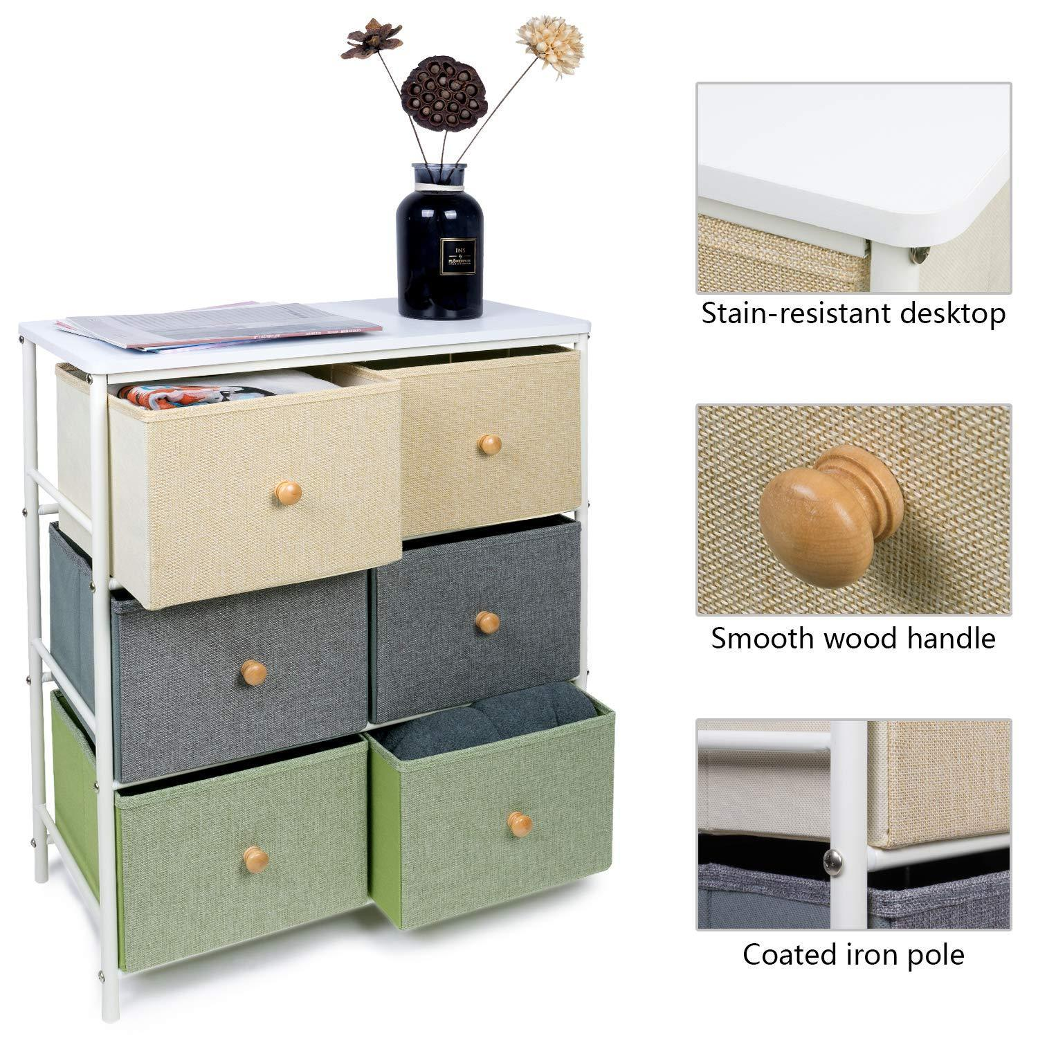 Top lifewit small storage drawer unit with metal frame for children small clothes organizer with wooden tabletop for livingroom bedroom cabinet with 6 easy pull fabric drawers 3 tier