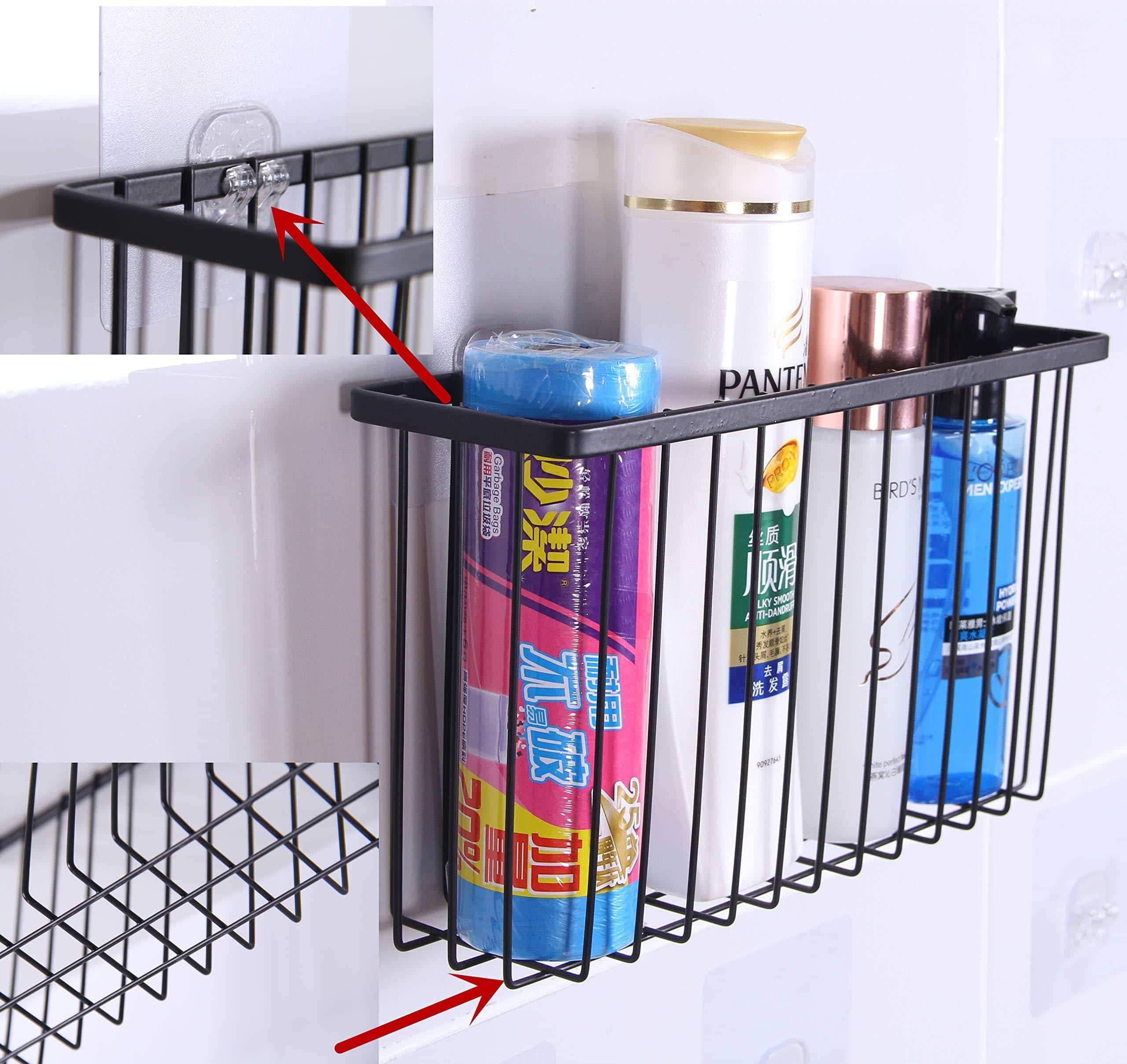 Products over the cabinet door organizer holder einfagood over the cabinet basket with adhesive pads and 2 adhesive hooks black coat 2 pack 1 door basket