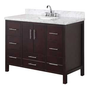 Related kitchen bath collection kbc039brcarr california bathroom vanity with marble countertop cabinet with soft close function and undermount ceramic sink carrara chocolate 48