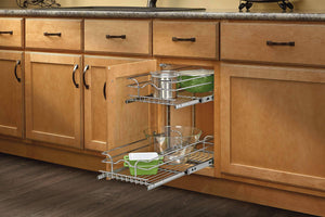 Discover rev a shelf 5wb2 0918 cr base cabinet pullout 2 tier wire basket reduced depth sink base accessories 9 w x 18 d inches