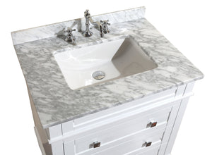 Order now kitchen bath collection kbc l30wtcarr eleanor bathroom vanity with marble countertop cabinet with soft close function undermount ceramic sink 30 carrara white