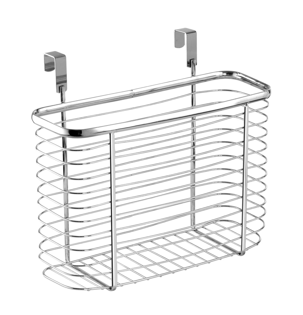 Select nice ybm home ybmhome over the cabinet door kitchen storage organizer holder basket pantry caddy wrap rack for sandwich bags cleaning supplies chrome 2234 1 medium