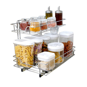 Purchase smart design 2 tier roll out under sink sliding organizer w mounting hardware medium steel metal holds 100 lbs cabinets cookware bakeware items kitchen 18 32 x 14 inch chrome