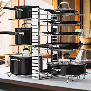 Explore geekdigg pot rack organizer adjustable height and position kitchen counter and cabinet pan organizer shelf rack pot lid holder with 3 diy methods silver