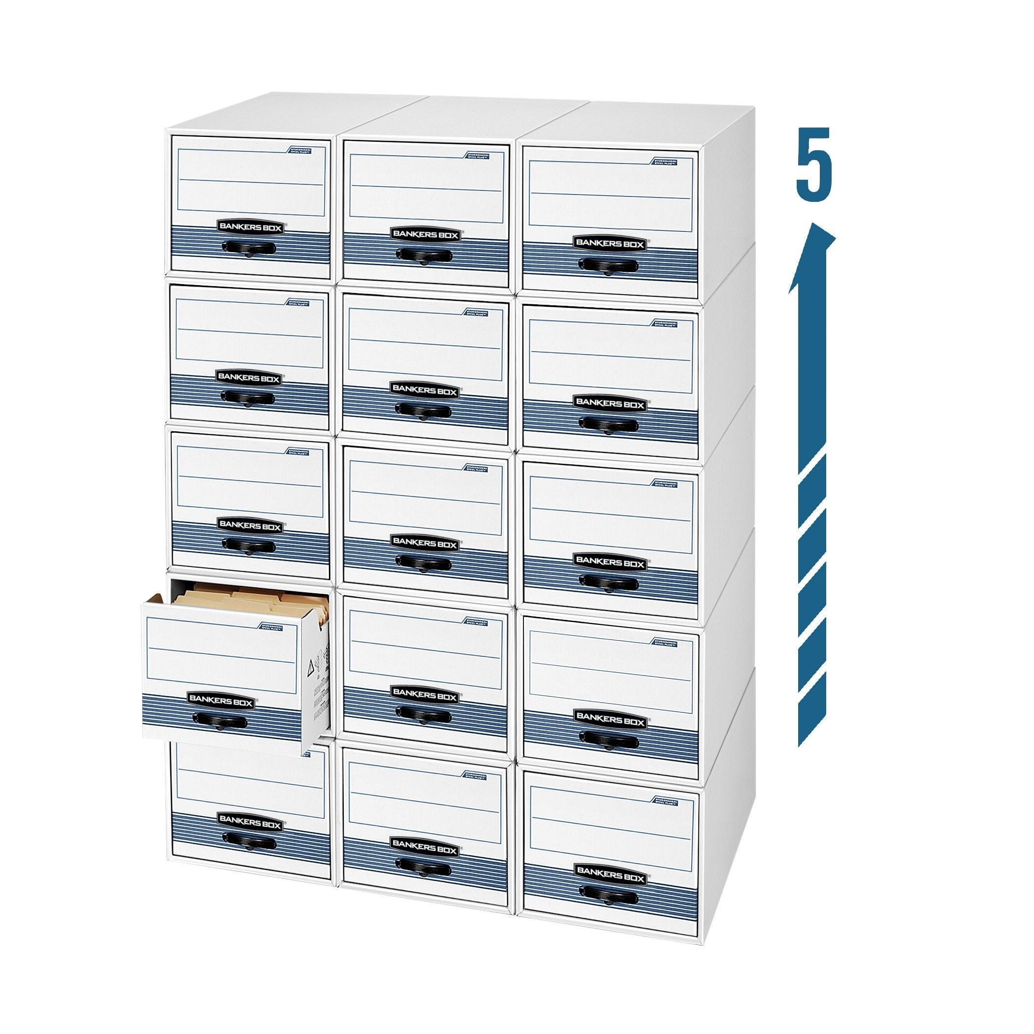 Storage bankers box stor drawer steel plus extra space saving filing cabinet stacks up to 5 high legal 6 pack 00312