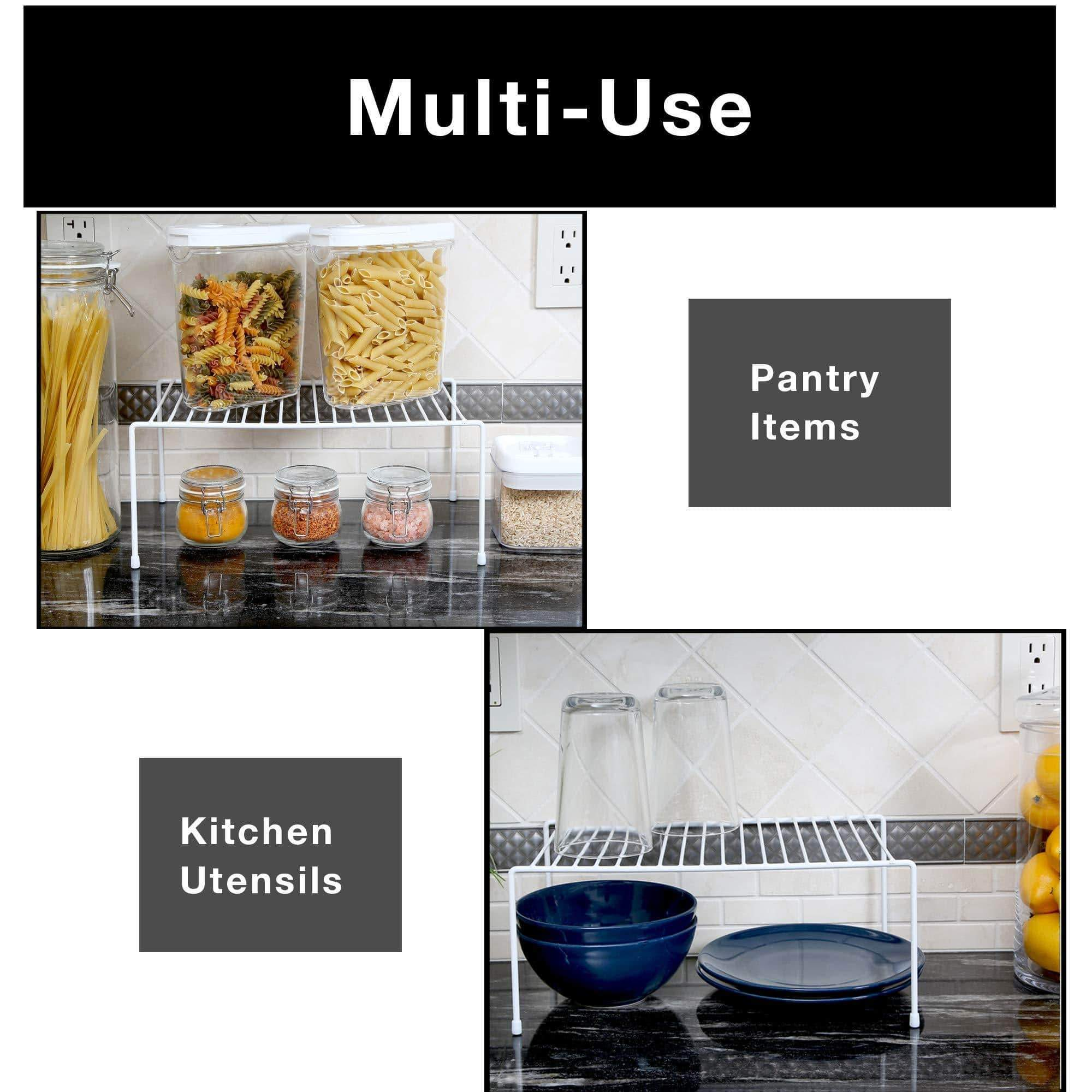 Buy smart design kitchen storage shelf rack w scratch resistant feet medium steel rust resistant finish for cups dishes cabinet pantry organization kitchen 13 25 x 6 inch white