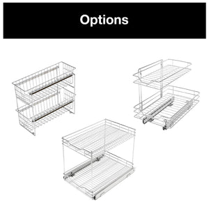 Results smart design 2 tier roll out under sink sliding organizer w mounting hardware medium steel metal holds 100 lbs cabinets cookware bakeware items kitchen 18 32 x 14 inch chrome