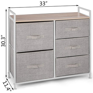 Budget happybuy 5 drawer storage organizer unit with fabric bins bedroom play room entryway hallway closets steel frame mdf top dresser storage tower fabric cube dresser chest cabinet beige tall