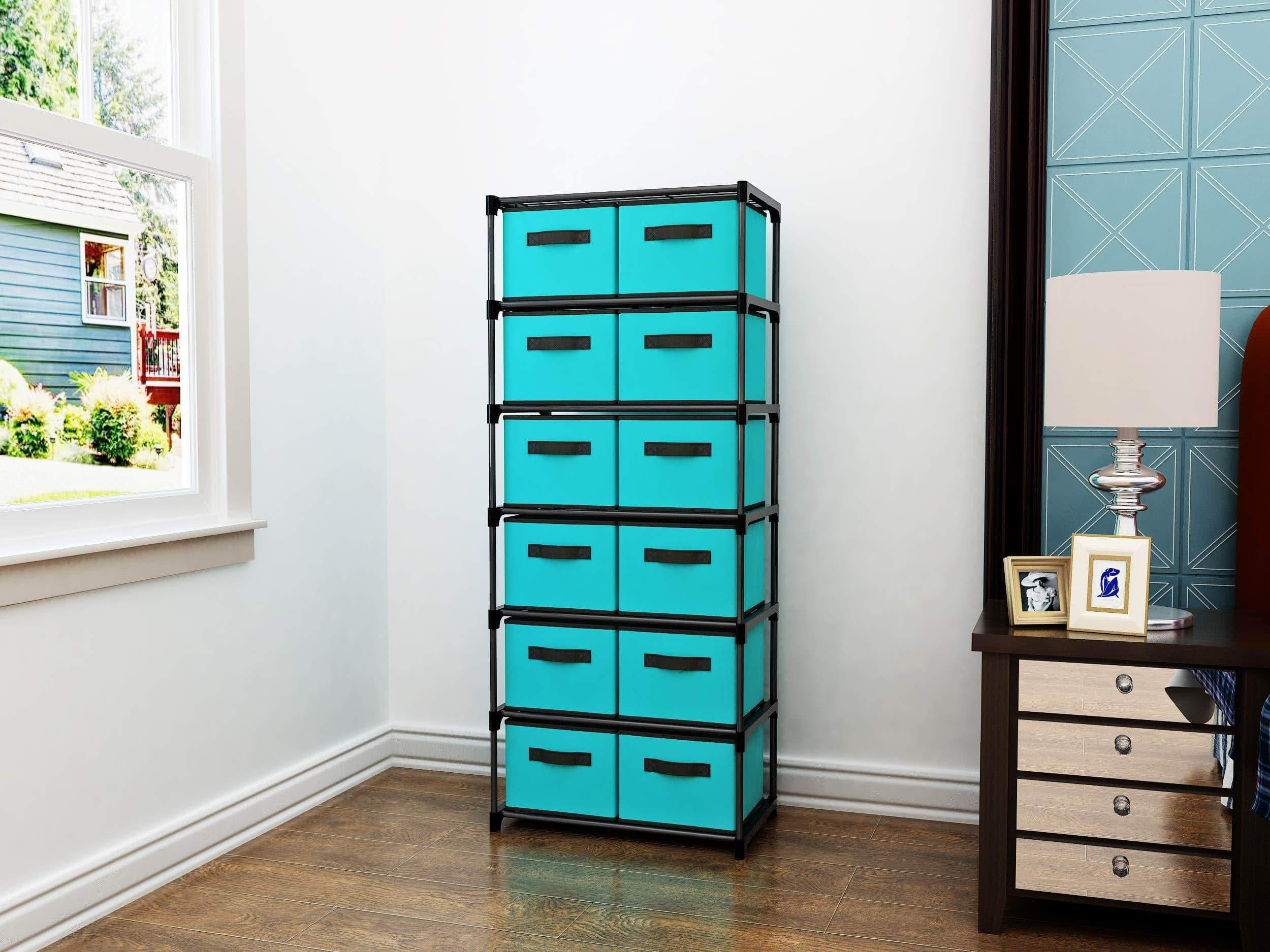 Purchase homebi storage chest shelf unit 12 drawer storage cabinet with 6 tier metal wire shelf and 12 removable non woven fabric bins in turquoise 20 67w x 12d x49 21h