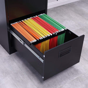Selection modernluxe metal lateral file cabinet steel vertical lockable filing cabinet 3 drawer with locks black 18w 24 4d 40 3h