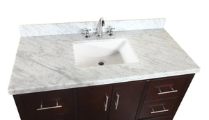 Products kitchen bath collection kbc039brcarr california bathroom vanity with marble countertop cabinet with soft close function and undermount ceramic sink carrara chocolate 48