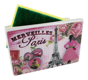 "Ceramic Sponge Holder, French Vintage Design ""Merveilles De Paris France"""