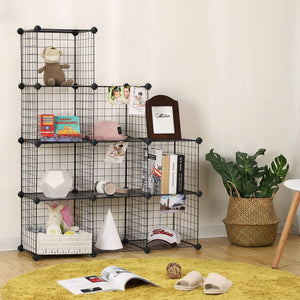 Budget friendly songmics metal wire cube storage 9 cube shelves organizer stackable storage bins modular bookcase diy closet cabinet shelf 36 6l x 12 2w x 36 6h black ulpi115h