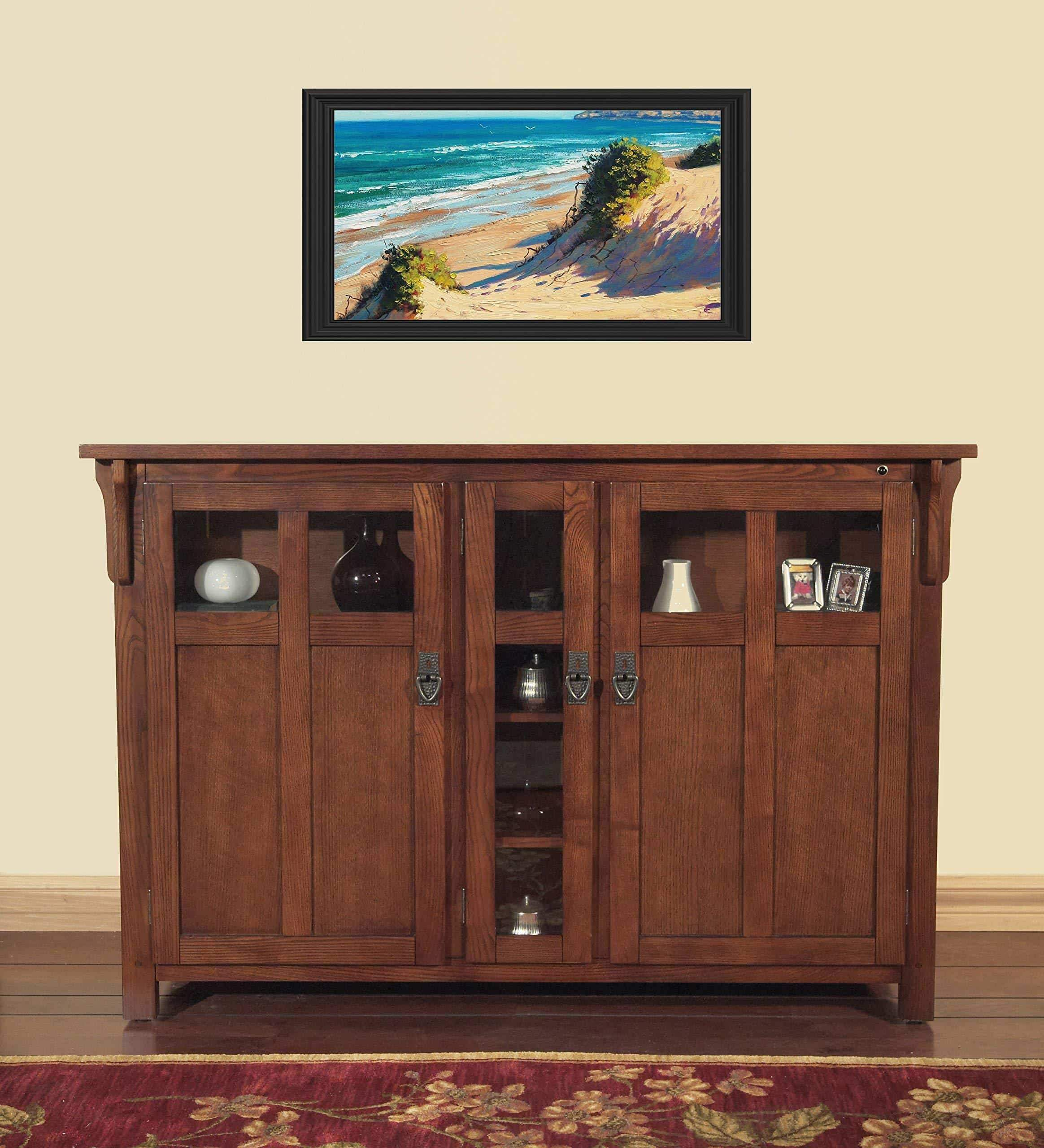 Featured touchstone 70062 bungalow tv lift cabinet chestnut oak up to 60 inch tvs diagonal 55 in wide mission style motorized tv cabinet pop up tv cabinet with memory feature ir rf 12v trigger