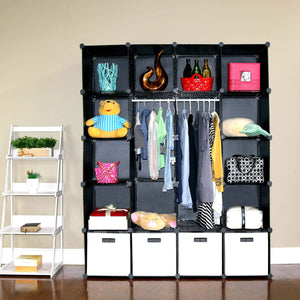 Online shopping unicoo multi use diy plastic 20 cube organizer bookcase storage cabinet wardrobe closet black with white door deeper cube