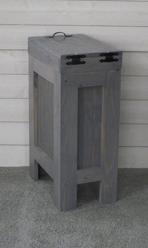 Budget rustic wood trash bin kitchen trash can wood trash can trash cabinet dog food storage 13 gallon recycle bin gray stain metal handle handmade in usa by chris buffalowoodshop