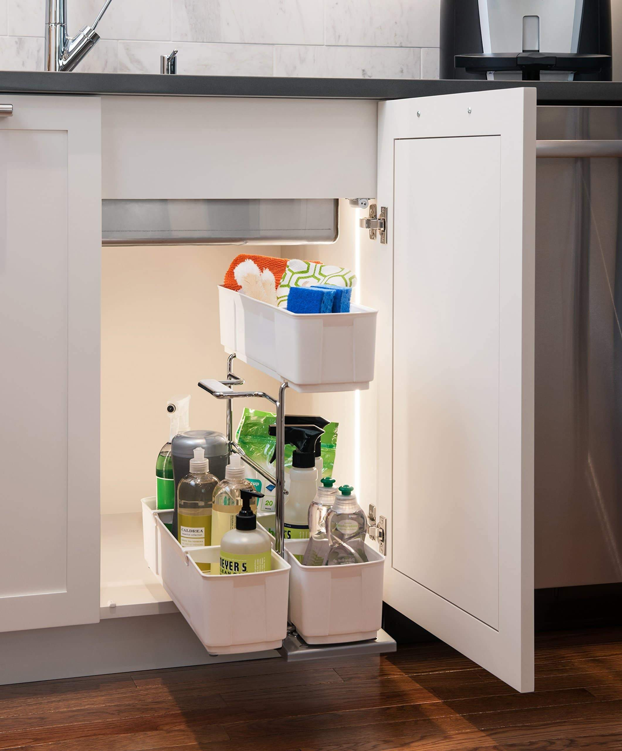 Heavy duty cleaningagent under sink organizer chrome steel and white sliding pull out base cabinet storage removable carrying caddy dishwasher safe easy install
