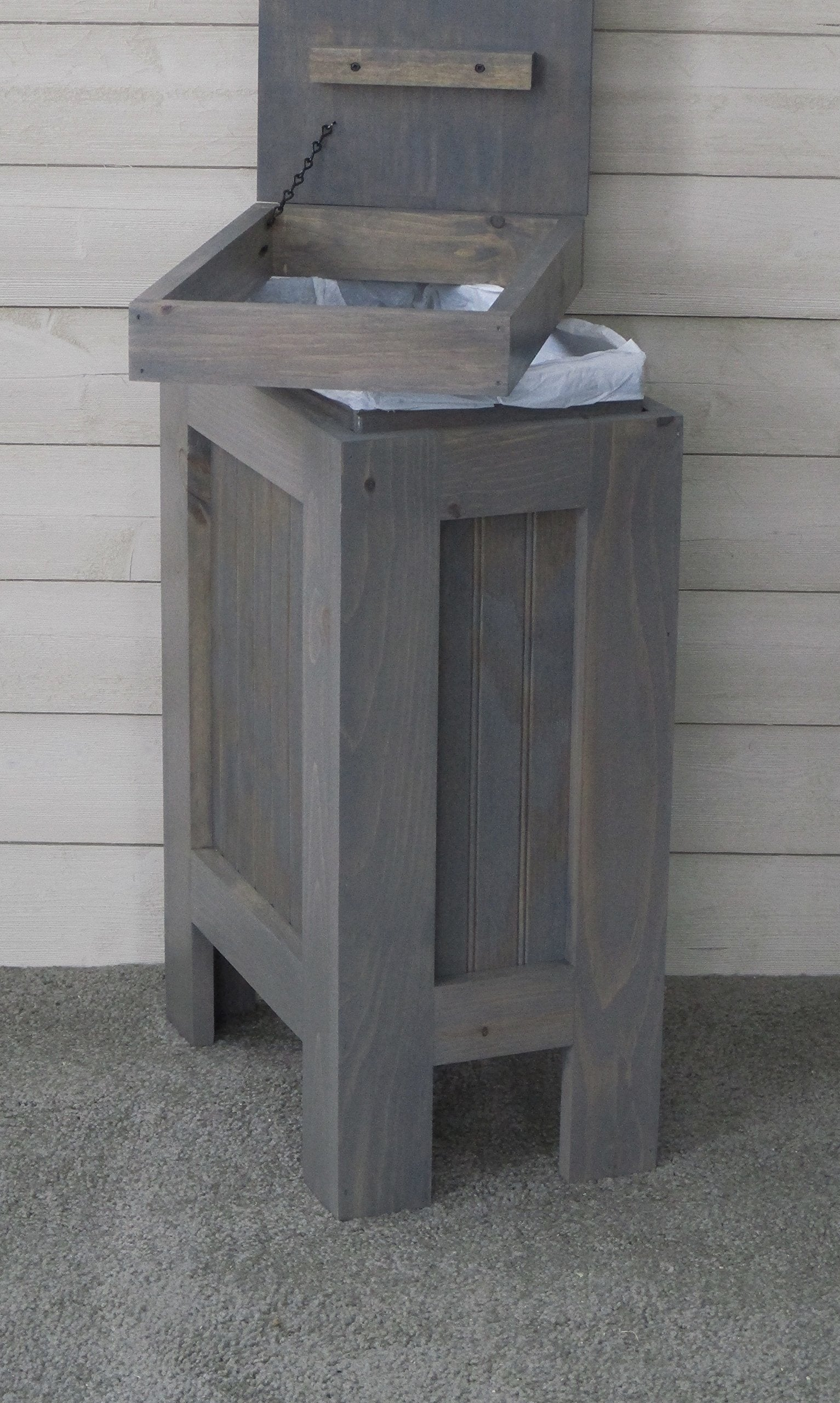 Best rustic wood trash bin kitchen trash can wood trash can trash cabinet dog food storage 13 gallon recycle bin gray stain metal handle handmade in usa by chris buffalowoodshop