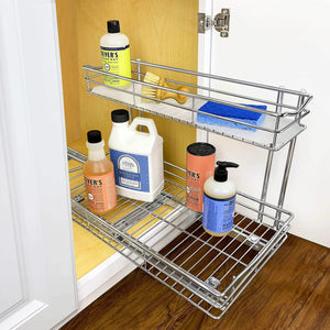 Discover the best lynk professional professional sink cabinet organizer with pull out out two tier sliding shelf 11 5w x 21d x 14h inch chrome