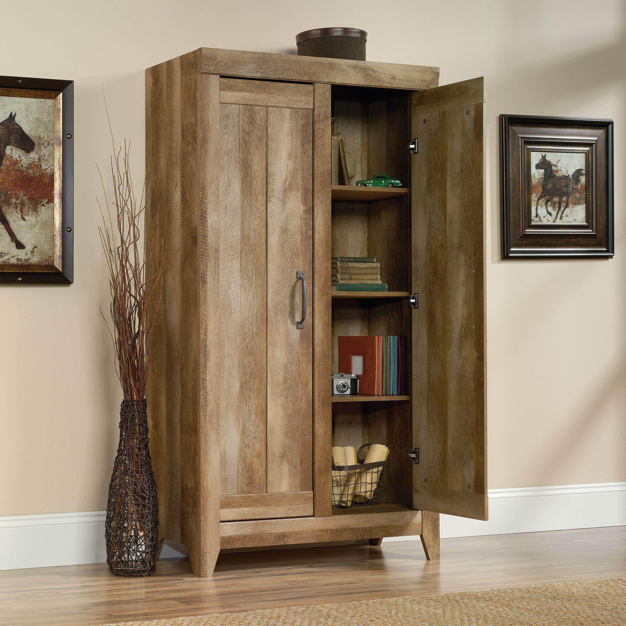 Discover the sauder 418141 adept storage wide storage cabinet l 38 94 x w 16 77 x h 70 98 craftsman oak finish