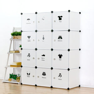 Results unicoo multi use diy plastic 12 cube organizer toy organizer bookcase storage cabinet wardrobe closet white with door sticker deeper cube white