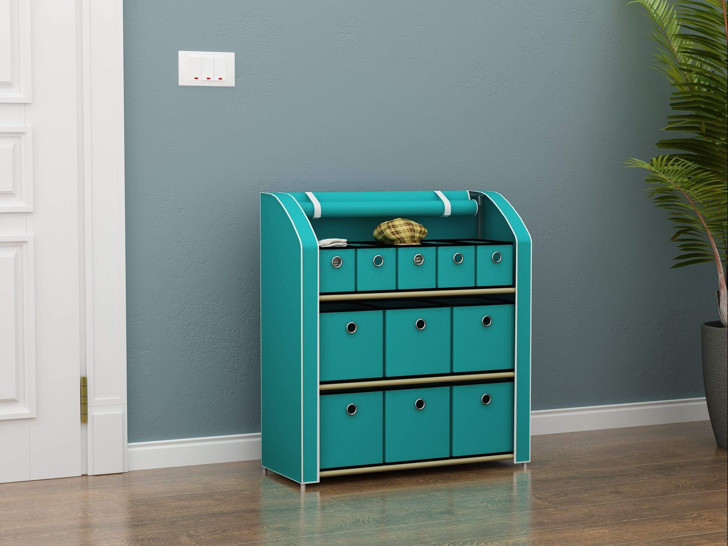 Order now homebi multi bin storage shelf 11 drawers storage chest linen organizer closet cabinet with zipper covered foldable fabric bins and sturdy metal shelf frame in turquoise 31w x12 dx32h