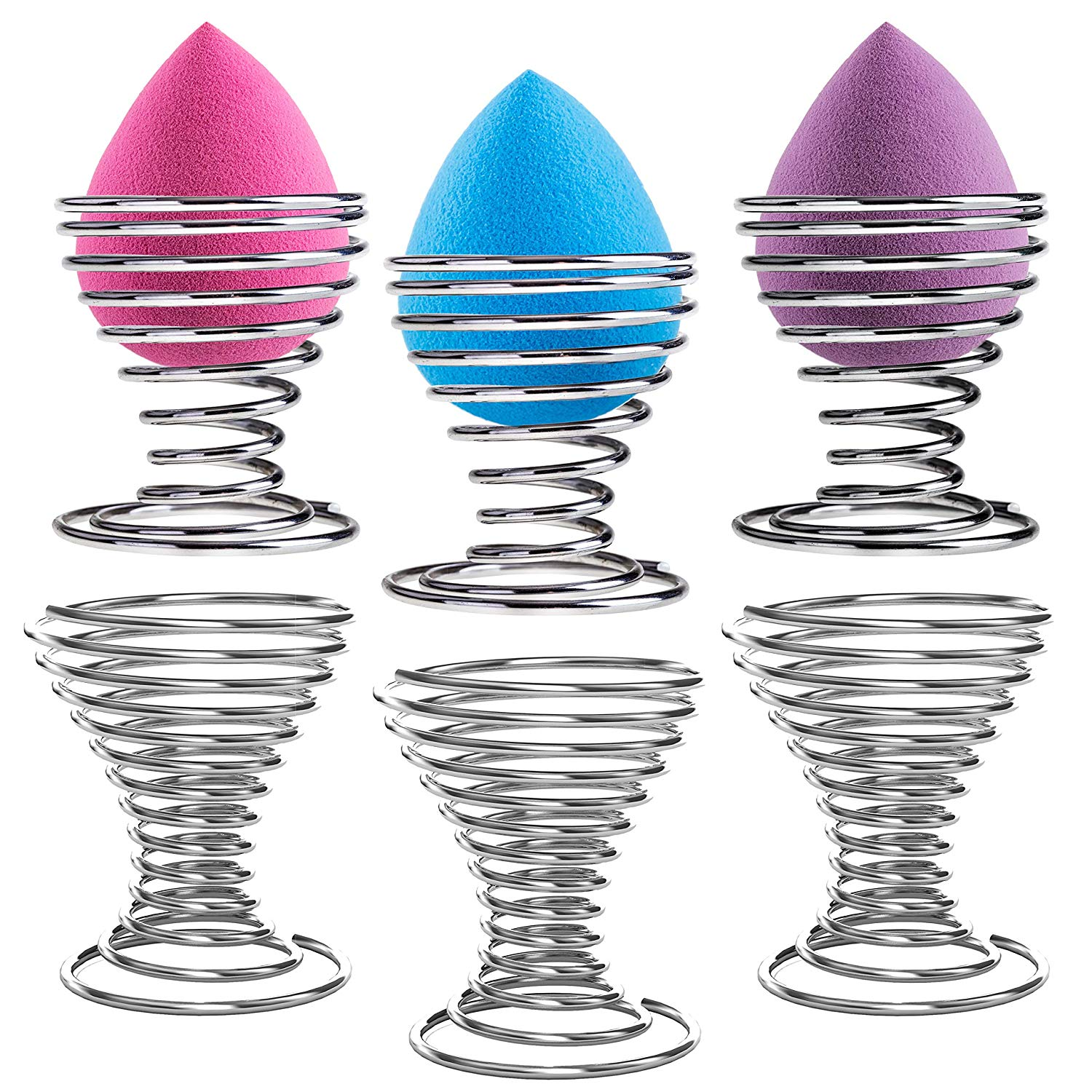 Chrome-Plated Steel Spring Wire Makeup Sponge Beauty Blender Holders, Set of 6