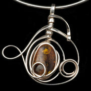 Apollo Silver and honey amber pendant