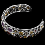 Borealis garnet, citrine, amethyst and quartz bangle