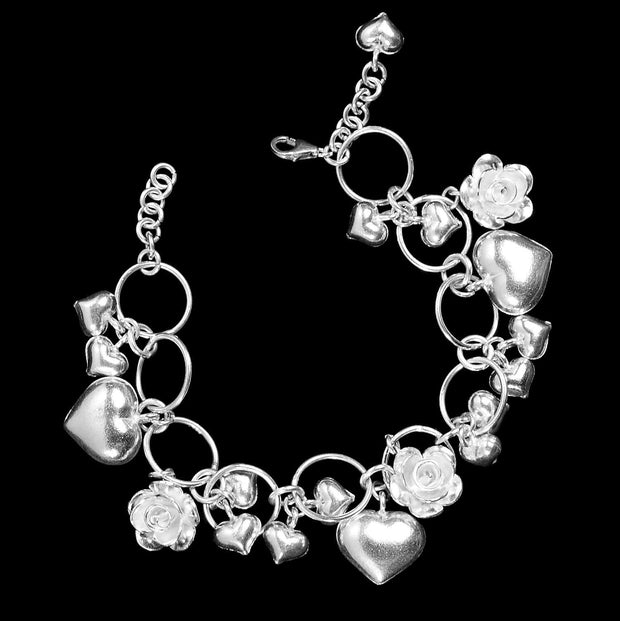 Etain silver hearts and roses bracelet