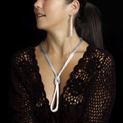 Sylvia dangly liquid silver earrings & knotted necklace