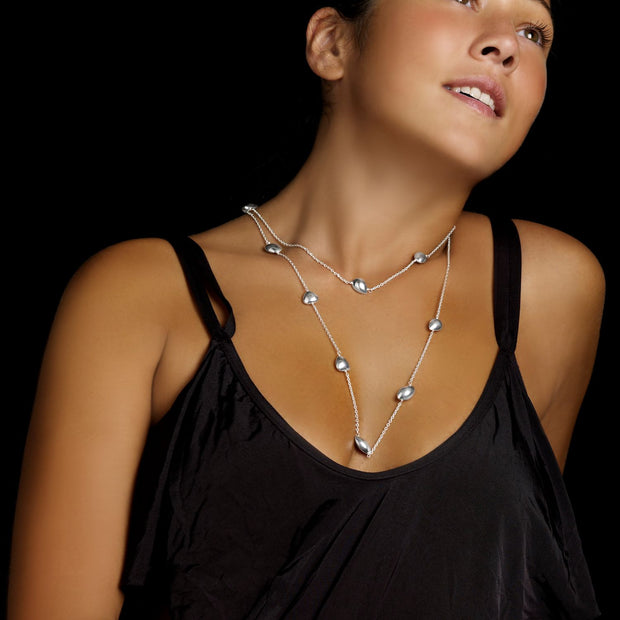 Niamh double wrap silver necklace